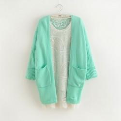 Nueva moda menta verde murciélago manga coreana suelta suéter de punto Cardigan
