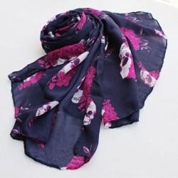 Pañuelo de gasa de seda con estampado de calavera retro