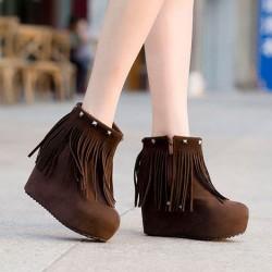 Zapatos de tacón de cuña gruesa con flecos gruesos