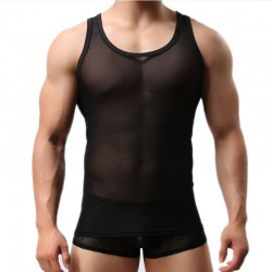 Sexy ver a través del chaleco sin mangas gimnasio musculoso cuello redondo camiseta malla camiseta sin mangas lencería para hombre