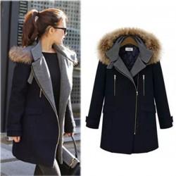 Elegante cuello de piel con cremallera lateral largo abrigo de lana