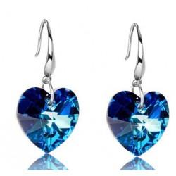 Azul Océano Corazón Crystal 925 Libra esterlina Plata Aretes