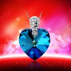Colgante de plata de ley 925 azul océano corazón cristal