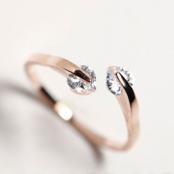 Moda melocotón Corazón Diamante de imitación Apertura anillo