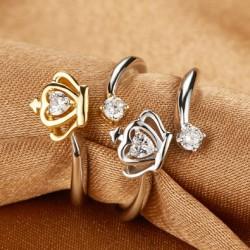 corona Corazón Circón Platino Apertura anillo