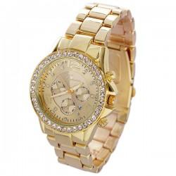 Reloj de metal con calendario de diamantes de imitación único