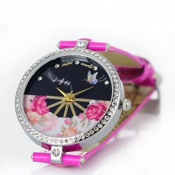 Reloj de diamantes de imitación floral mariposa fresca