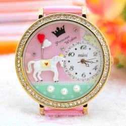 Reloj de moda de arcilla polimérica con adornos de diamantes de imitación