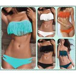 Acolchada palabra de honor de la franja de la borla atractiva caliente Bikini