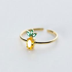 Lindo colgante de piña corona dorada frutas 925 anillos de cristal de plata pendientes tachuelas collar de mujer