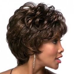 Moda oblicua flequillo mullido pelo corto y rizado niñas peluca de pelo de encaje