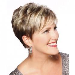 Moda Light Golden Diagonal Bangs Cabello corto Pelucas de cabello para mujeres maduras