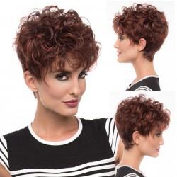 Peluca de pelo rizado corto y esponjoso marrón nuevo Peluca de pelo ondulado para mujer