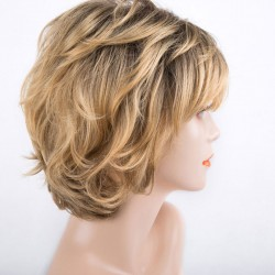 Pelucas de pelo para mujer Peluca de pelo maduro con fibra química mullida corta de oro única