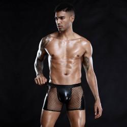 Ropa interior de charol de imitación sexy para hombre Pantalones de costura de malla negra Lencería