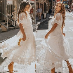 Vestido largo de manga corta con escote en V profundo de moda Vestido largo de encaje con flores Vestido de noche de fiesta