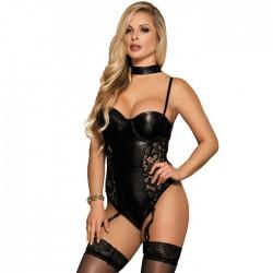 Peluche sexy para mujer Costura de PU de encaje negro Malla hueca Imitación de cinturón de liga apretado Body de cuero Lencería de una pieza