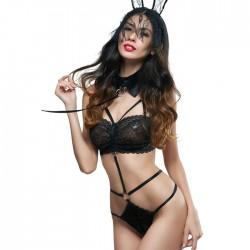 Disfraz de conejita Cosplay de encaje porno negro sexy Lencería adolescente combinada