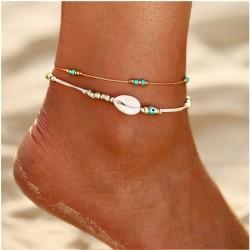 Ocio Tobillera de niña de playa de dos capas de verano de cuentas de concha simple