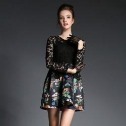 Vestido de costura de encaje sexy elegante delgado