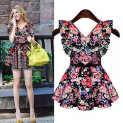 Vestido de algodón estampado con flores y cuello en V floral con cuello en V de Sweet Bow