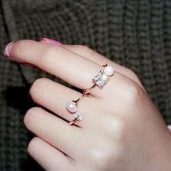 Elegante Circón Perla Apertura anillos niñas anillos