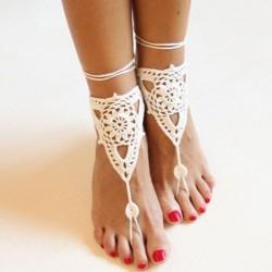 Sandalia de punto hecho a ganchillo sandalias descalzas de algodón
