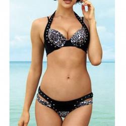 Conjunto de bikinis estampado leopardo Rivet Halter Swimwear Beach traje de baño