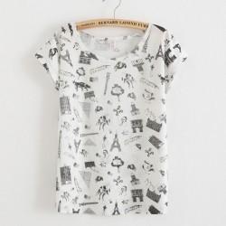 Camiseta estampada del edificio de la Torre Eiffel