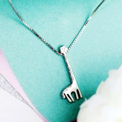 Collar colgante de plata linda preciosa original de la jirafa 925