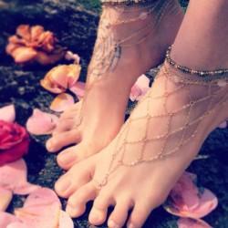 Tobillera reticular de oro para mujer hecha a mano de playa