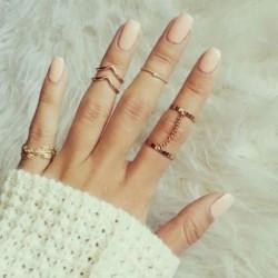 Moda Hojas Diamante Un set Seis anillo Cadena Irregular Dedo articulaciones anillo