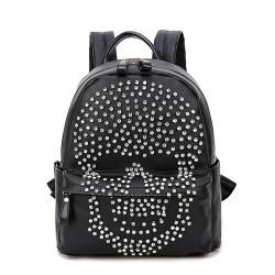 Moda Punk Original Diamante Remache Cráneo Negro Cartera Mochila
