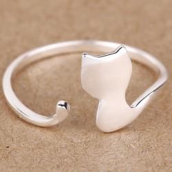 Encantador Gato Plata Anillos Gatito Animal Ajustable Abierto anillo