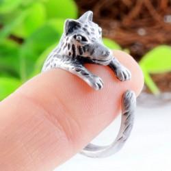 Linda Pequeña Lobo Abierto Ajustable animales anillo Regalo Muchacha anillo