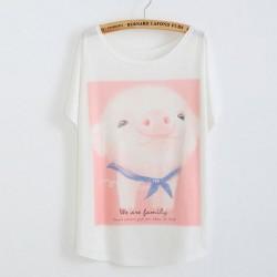 Linda Cerdito Impreso Algodón Camiseta