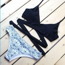 Traje de baño Split de estampado de flores de palacio Nuevo set de bikini de vendaje