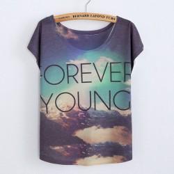 Camisetas de algodón estampadas originales de Gradient Sky Forever Young