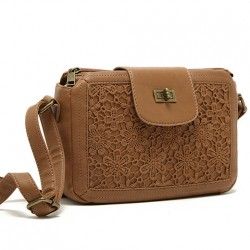 Ocio marrón Cordón Flor Cuadrado bolso de la almohadilla Bolsa de hombro Bolsa de mensajero