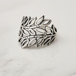 Retro Hollow Leaves Branch Silver Open Ring Leaf Ring