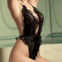Ruffle de encaje negro dulce sexy Ahuecado Ver a través de Cabestro Escotado por detrás Monos dama Lencería
