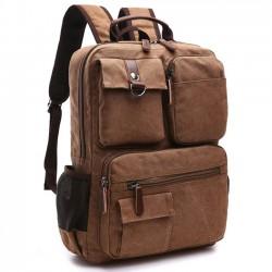 Mochila de viaje al aire libre de gran tamaño con mochila escolar vintage de color marrón grande Mochila para portátil escolar con lona