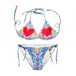 Costuras florales atractivas Traje de baño de impresión a rayas Traje de baño Sujetador acolchado Traje de baño