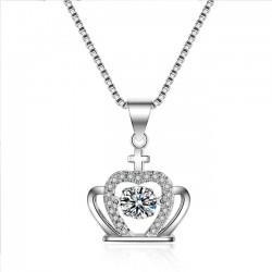 Moda Corona Diamante Corona de mujer Cruz Cristal de plata Collar