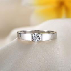 Austria Diamante de imitación Sencillo Plata Pulido Anillo de hombre