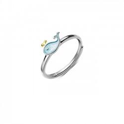 Encantador pequeño ballena delfín pez niña animal anillo abierto