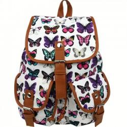 Ocio Mariposa Impresión Mujer Mochila Dos bolsillos Bolso de la universidad Mochila de lona