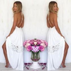Ocio ahuecado sin respaldo de encaje de verano costura Lady White vestido largo