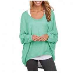 Suéter de punto hueco casual de manga larga extragrande