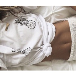 Camiseta de manga corta con estampado de piña Blusas Top